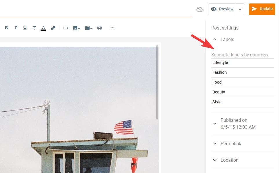 Blogger post labels editing
